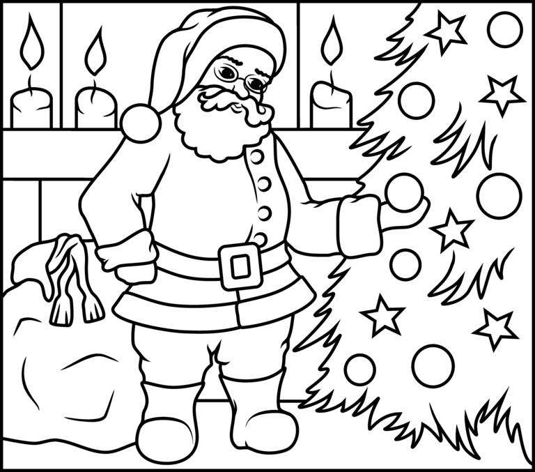 santa steal christmas ball coloring page | christmas ...
