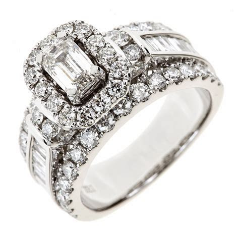 2.95 CT. T.W. Emerald Cut Diamond Engagement Ring in 14K