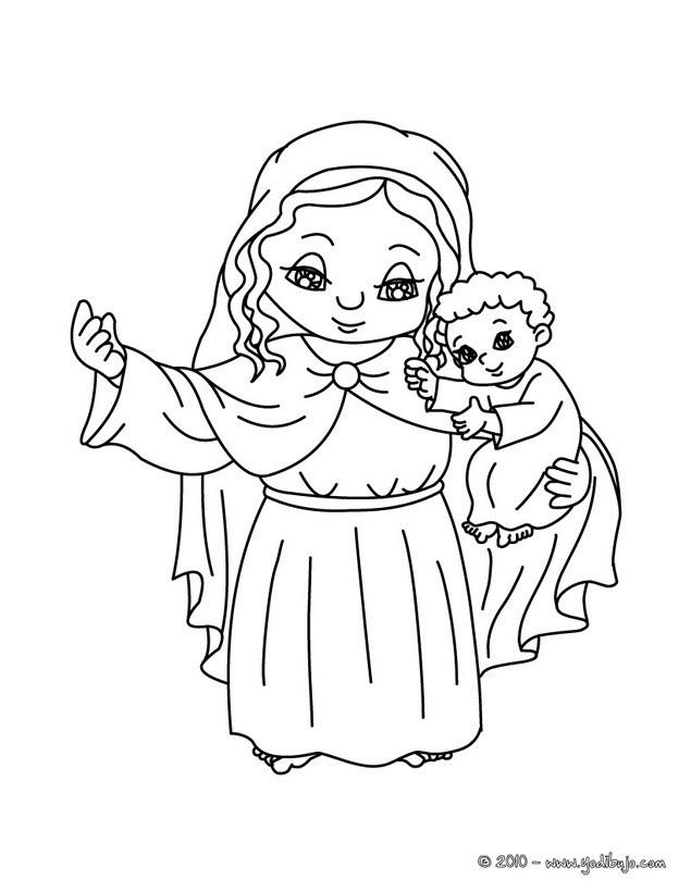 Dibujos Para Colorear María Y Al Niño Jesús Eshellokidscom