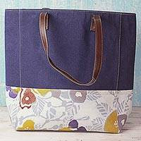 Leather trim cotton batik tote handbag, 'Floral Blue Summer' (India)