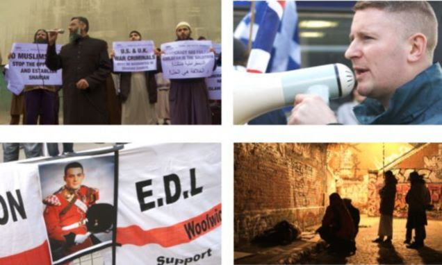 London's Holy Turf War: The documentary looks at both sides of the patrols in east London. Clockwise from top left: Anjem Choudary, Paul Golding, Muslims on patrol, EDL banner