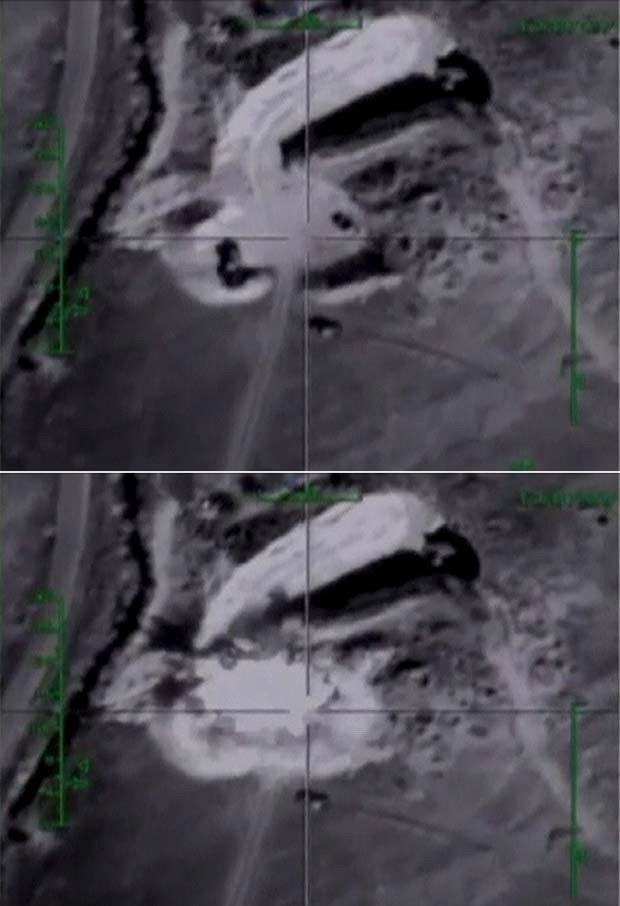 Imagens do Ministério da Defesa da Rússia divulgadas nesta quarta-feira (28) mostram ataques aéreos lançados na Síria, na província de Hama (Foto: REUTERS/Ministry of Defence of the Russian Federation/Handout via Reuters )