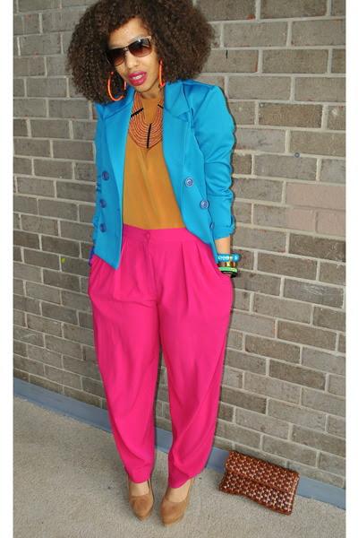hot pink vintage pants bronze silk vintage tops brown