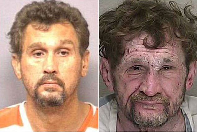 Michael's first mugshot was taken aged of 45, in October 2004 (left) for a hit and run. Over the next ten years he racked up multiple arrests, including for possession of drug paraphernalia. The type of drug was not recorded. His last mugshot was taken in 2014, age 54 (right)