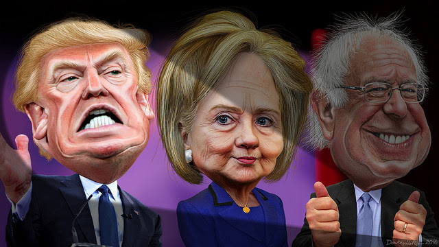 MSM spotlights Donald Trump vs. Hillary Clinton and Bernie Sanders. By DonkeyHotey Flickr/(CC BY-SA 2.0). Nightly News Coverage in 2015: Trump 234 mins, Clinton, 113 mins, Sanders 10 mins - Sag / Daily Kos   This caricature of Donald Trump was adapted from Creative Commons licensed images from Gage Skidmore's flickr photostream. This caricature of Hillary Clinton was adapted from a photo in the public domain from the East Asia and Pacific Media's Flickr photostream. The body was adapted from a photo in the public domain from the U.S. Department of State's Flickr photostream. This caricature of Bernie Sanders was adapted from a Creative Commons licensed photo by Nick Solari available via Wikimedia.