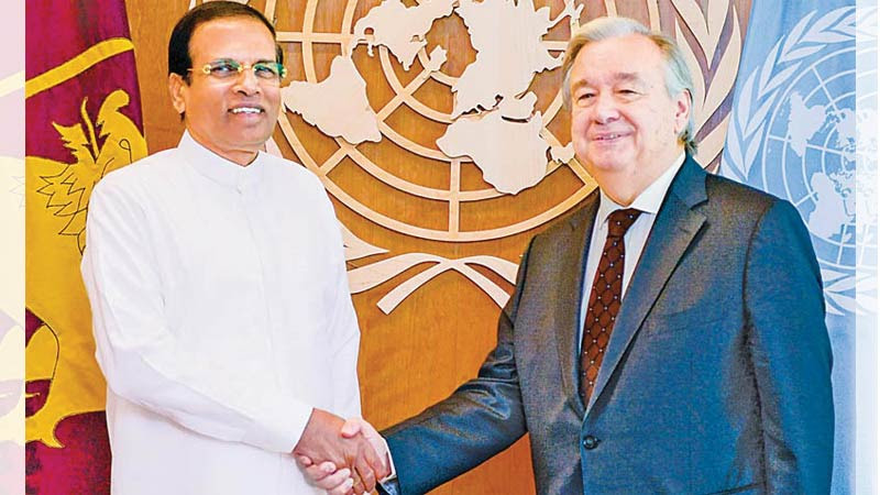 President Maithripala Sirisena meeting UN Secretary-General António Guterres on the sidelines of the 72nd United Nations General Assembly Sessions in New York on Saturday. Picture by Sudath Silva
