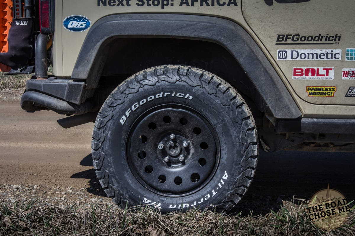 I'm running BFGoodrich All Terrain KO2s, which should be the most versatile for all the varied conditions I'm expecting to encounter.