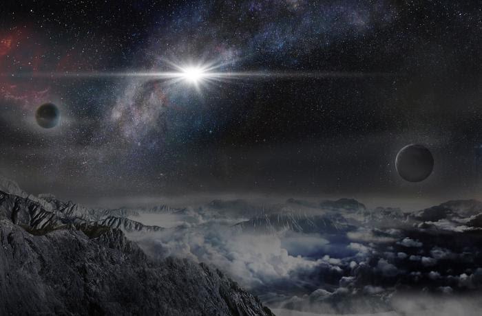 Simulação de como seria ver a supernova em um planeta a 10.000 anos-luz de distância, na mesma galáxia da supernova. Crédito: Observatório Pequim / Jin Ma