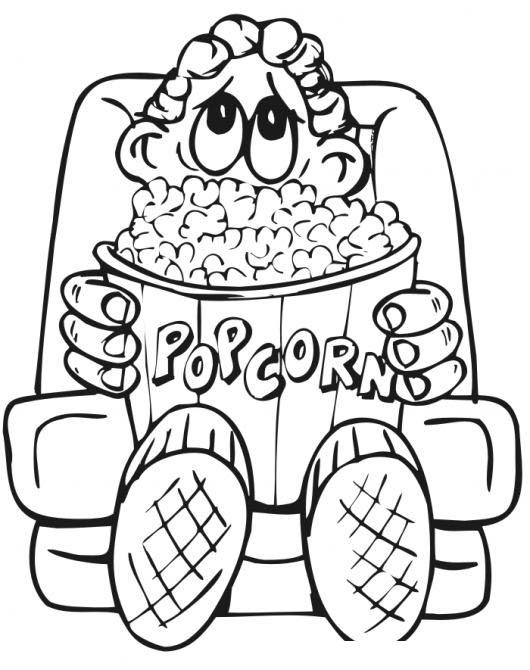 Poporopos Popcorn En El Cine Dibujo De Nino Viendo Una Pelicula En