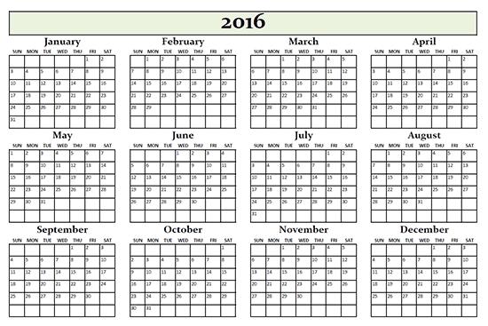 2016 annual calendar