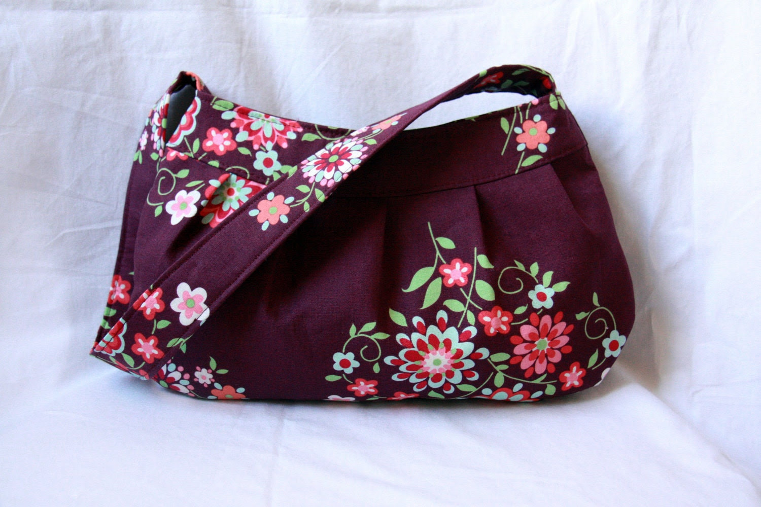 Buttercup Bag with Adjustable Strap - Amy Butler Memento Floral Purse with Polka Dot Lining