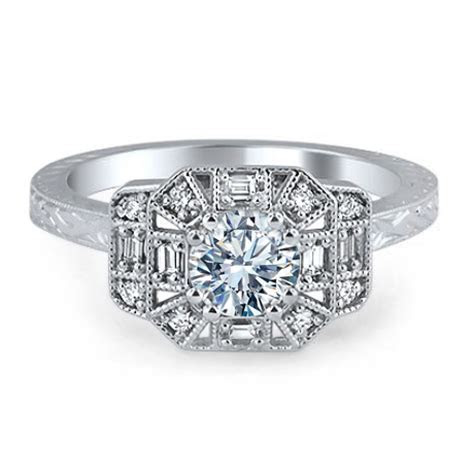 Engagement Ring  Octagon Vintage Petite Diamond Engraved