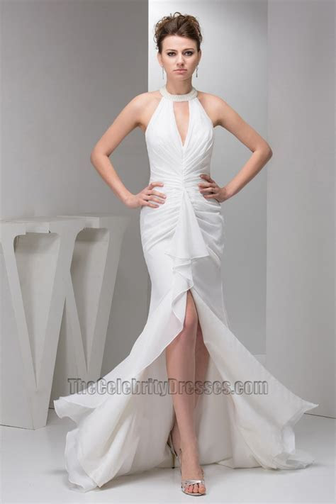 Sexy Trumpet/Mermaid Halter Chiffon Informal Wedding