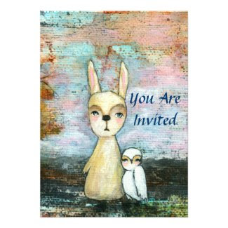 Baby Boy Shower Woodland Rabbit and Owl Art Cards