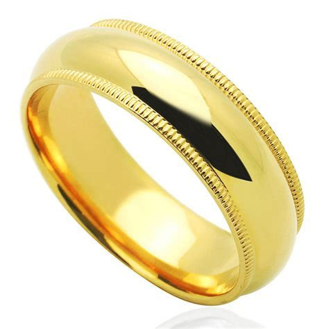 Men's 14K Yellow Gold 6mm Milgrain Plain Domed Wedding