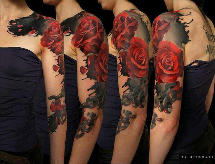 Red Roses Sleeve Tattoo
