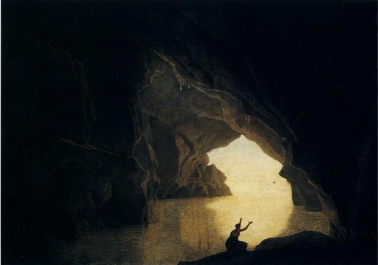 Joseph Wright of Derby. A Grotto in the Gulf of Salernum, with the Figure of Julia, Banished from Rome. exhibited 1780