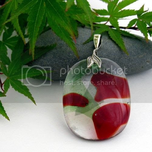 Red and Green Rose Petal Pendant