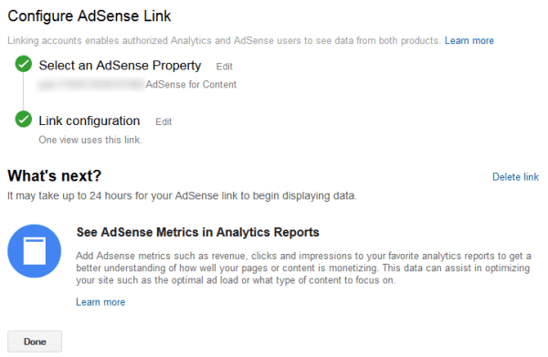 links adsense and analytics