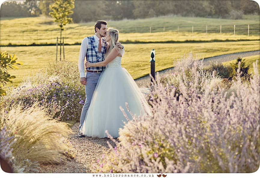 Romantic evening wedding photo in heather - www.helloromance.co.uk