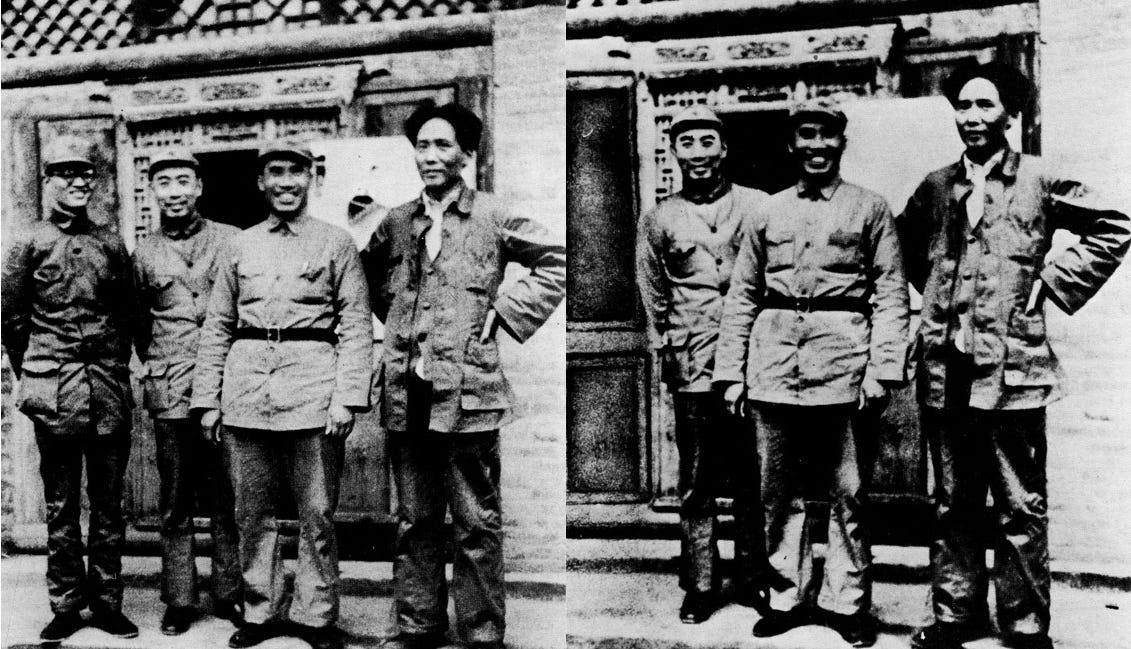 Qin Bangxian, Bo Gu, and Mao Zedong photoshopped