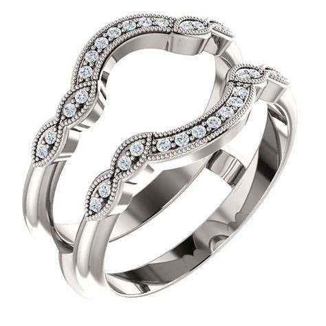 14kt White Gold With Round Diamond Ring Guard Engagement
