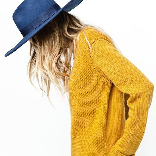 Le Fashion Blog Mustard Yellow Knit Sweater Blue Fedora Hat Blonde Ombre Hair color Beachy Waves Wavy Hair Mix Zara 2011 Lookbook 1 photo Le-Fashion-Blog-Mustard-Sweater-Blue-Hat-Mix-Zara-2011-Look-1.jpeg