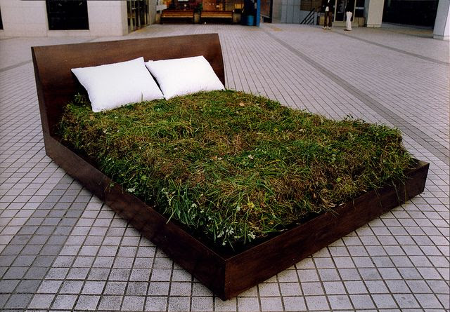 Rest     Bed, Lawn, Mixed media.     Installation     190 X 250 X 100 (cm)  75 X 98 X 39 (inch) by Function2.com, via Flickr