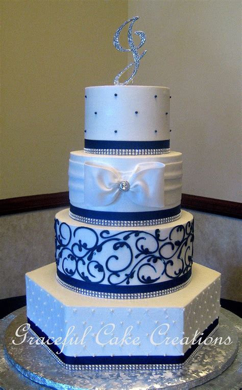 Elegant White Butter Cream Wedding Cake With Navy Blue