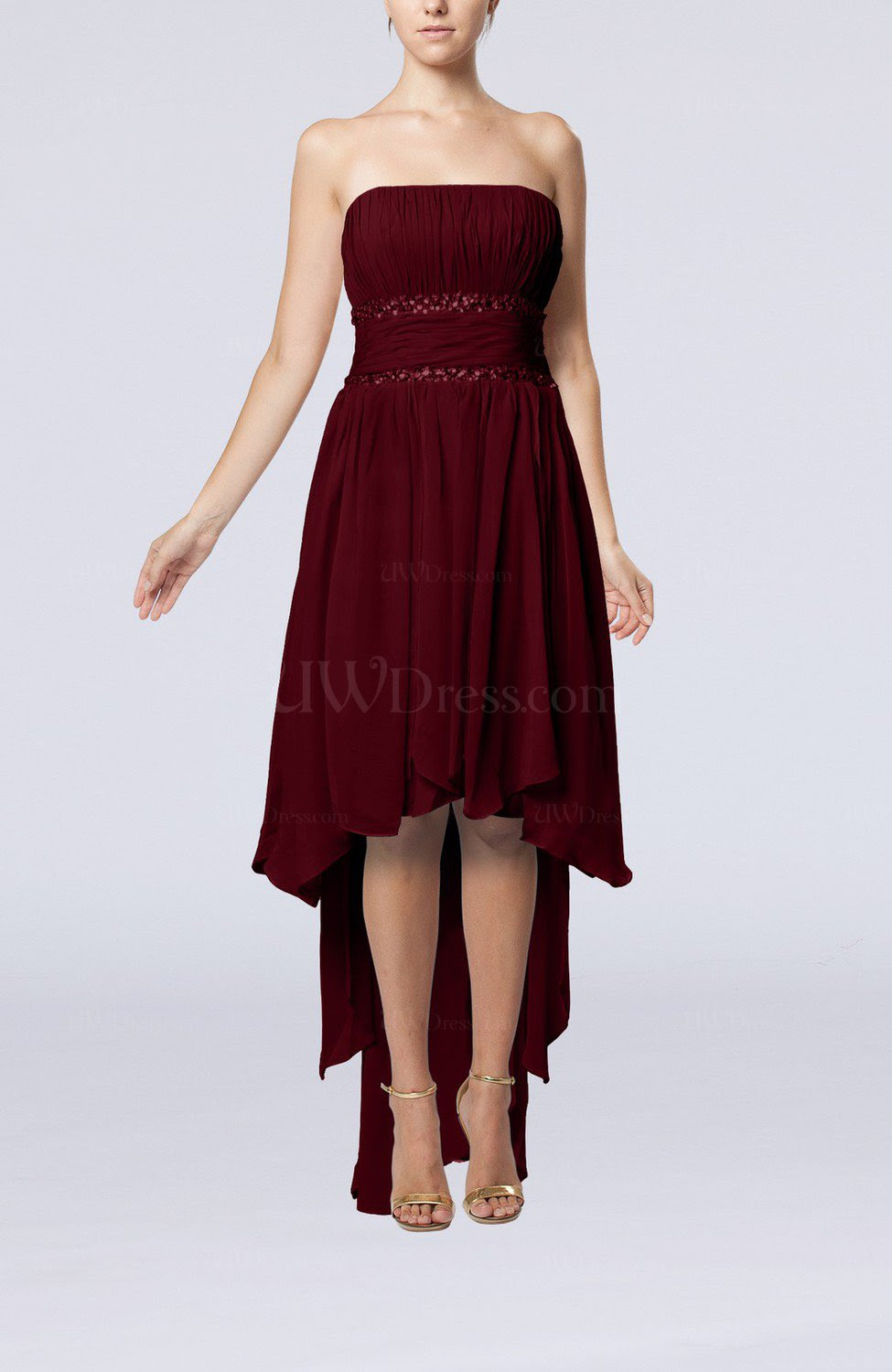 burgundy plain aline strapless sleeveless zipper chiffon