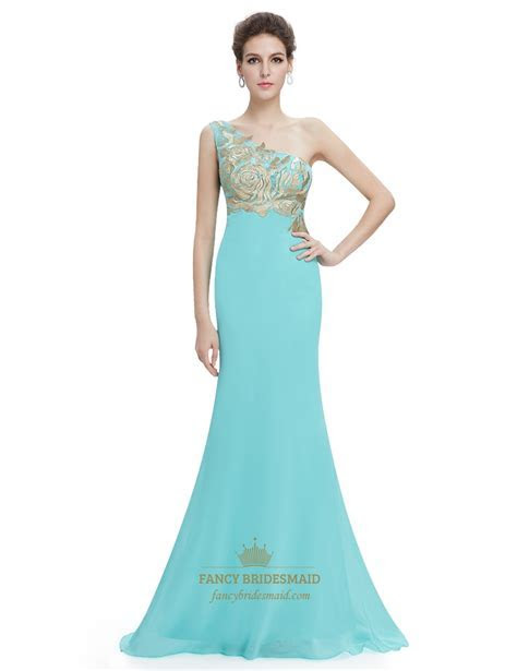 Mint Green One Shoulder Mermaid Chiffon Prom Dress With
