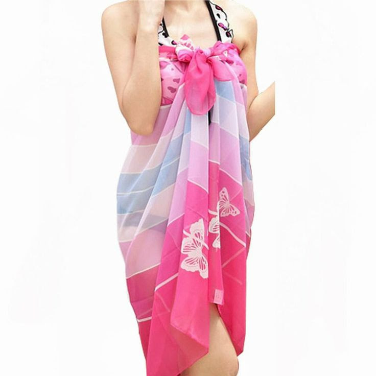 World Pride Chiffon Floral Pareo Dress Sarong Wrap Beach Bikini Cover up Scarf: Clothing