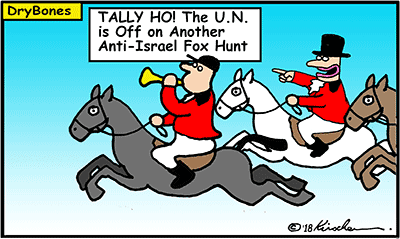 Dry Bones cartoon, Hamas,United Nations,U.N., fox hunt, IDF, Palestinian, Arab, Israel, Gaza, Palestine,