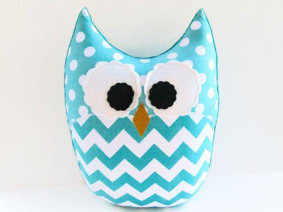 Large Plush Owl Chevron Pillow Zig Zag Aqua Teal Nursery Decor