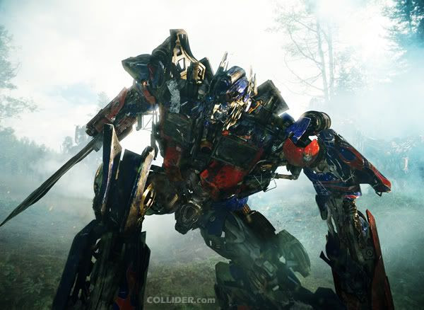Optimus Prime in the heat of battle.