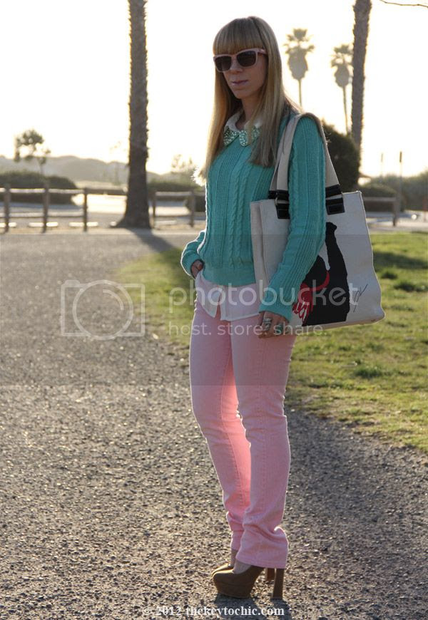 Uniqlo pink jeans, H&M pearl collar, mint green sweater, pastel spring 2012 trend, Los Angeles street fashion