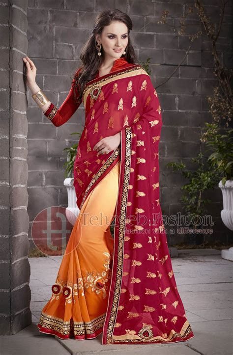 Pakistani and Indian Party Wear Sarees 2018   BestStylo.com