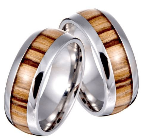 Men's Titanium Steel And Wood Grain Wedding Band Ring