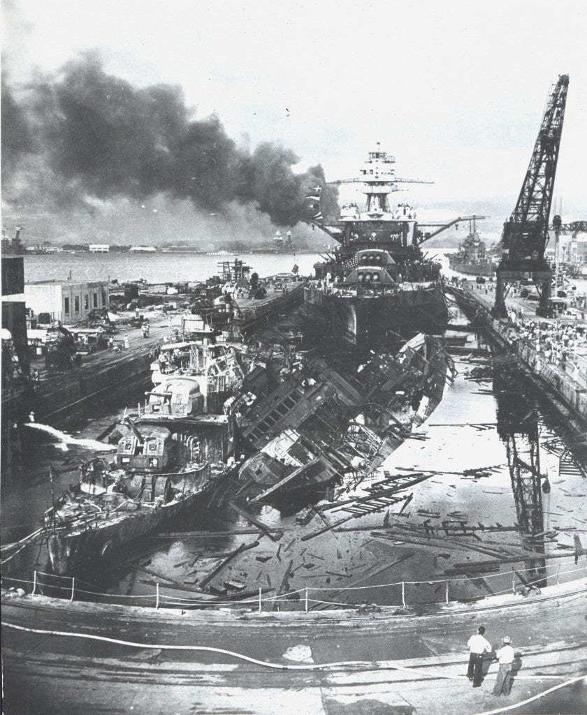 Pearl Harbor destruction after Japanese 'Kamikaze' attacks. (Photo: Newscom)
