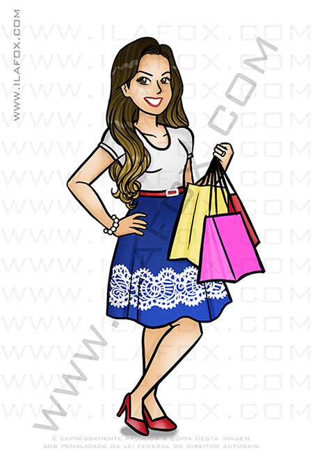 Caricatura Desenho, caricatura, comprinhas, roupas, caricatura bonita, caricatura personalizada, by ila fox