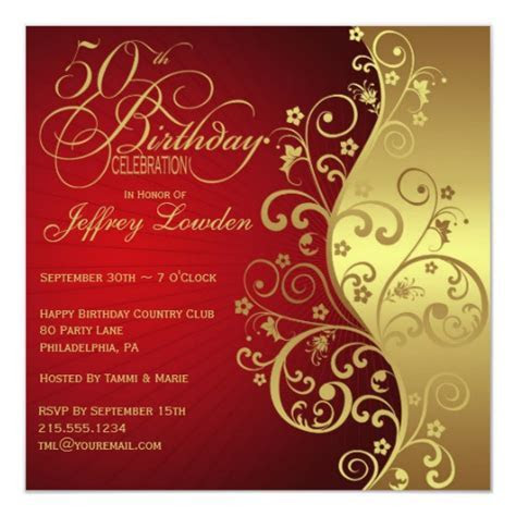 Red & Gold 50th Birthday Party Invitation   Zazzle