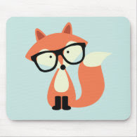 Cute Hipster Red Fox Mousepad