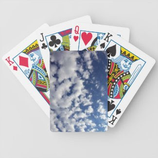 Puffy Clouds On Blue Sky Bicycle Playing Cards