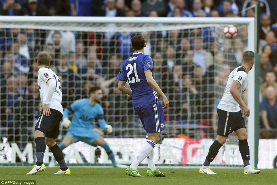 Nemanja Matic watches his piledriver strike the back of the net via the crossbar to give Chelsea a 4-2 win over Tottenham