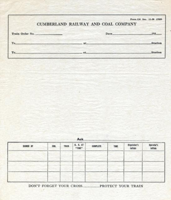 Cumberland Railway and Coal Company Train Order