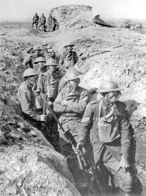 World War I soldiers in the trenches