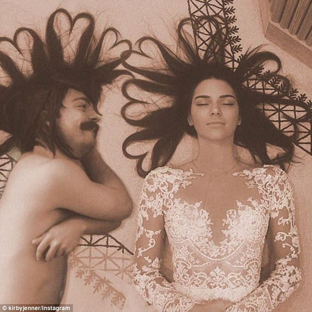 Play time: A man claiming to be named Kirby Jenner is gaining internet fame by Photoshopping himself into photos of Kendall Jenner, and claiming to be her fraternal twin