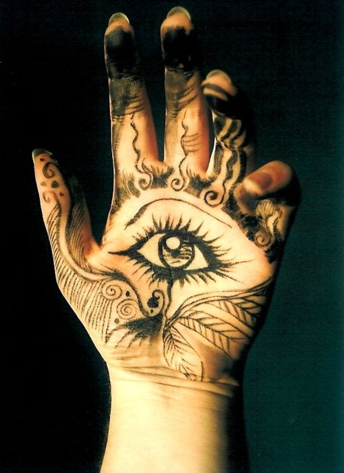 Reminds me of Karou's hamsa tattoos in Daughter of Smoke and Bone by @Lu P taylor :) <3