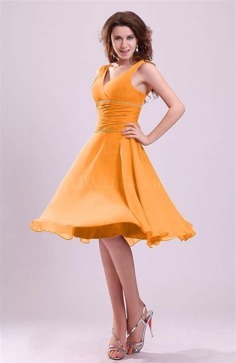 Orange Cute A line Sleeveless Chiffon Knee Length Ruching
