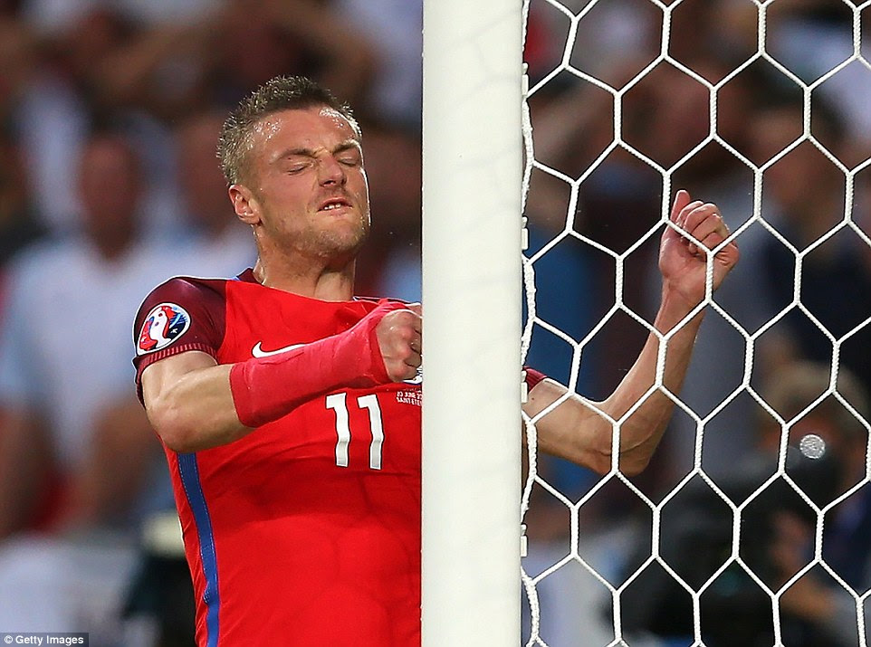 Jamie Vardy shows his irritation after a missed chance as England toiled without reward against Slovakia at Stade Geoffroy-Guichard